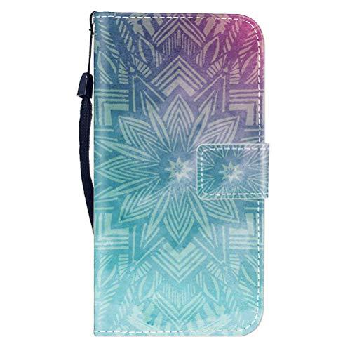 Sunrive Hülle Für OUKITEL Mix 2, Magnetisch Schaltfläche Ledertasche Schutzhülle Etui Leder Hülle Cover Handyhülle Tasche Schalen Lederhülle MEHRWEG(W8 Grüne Blume)