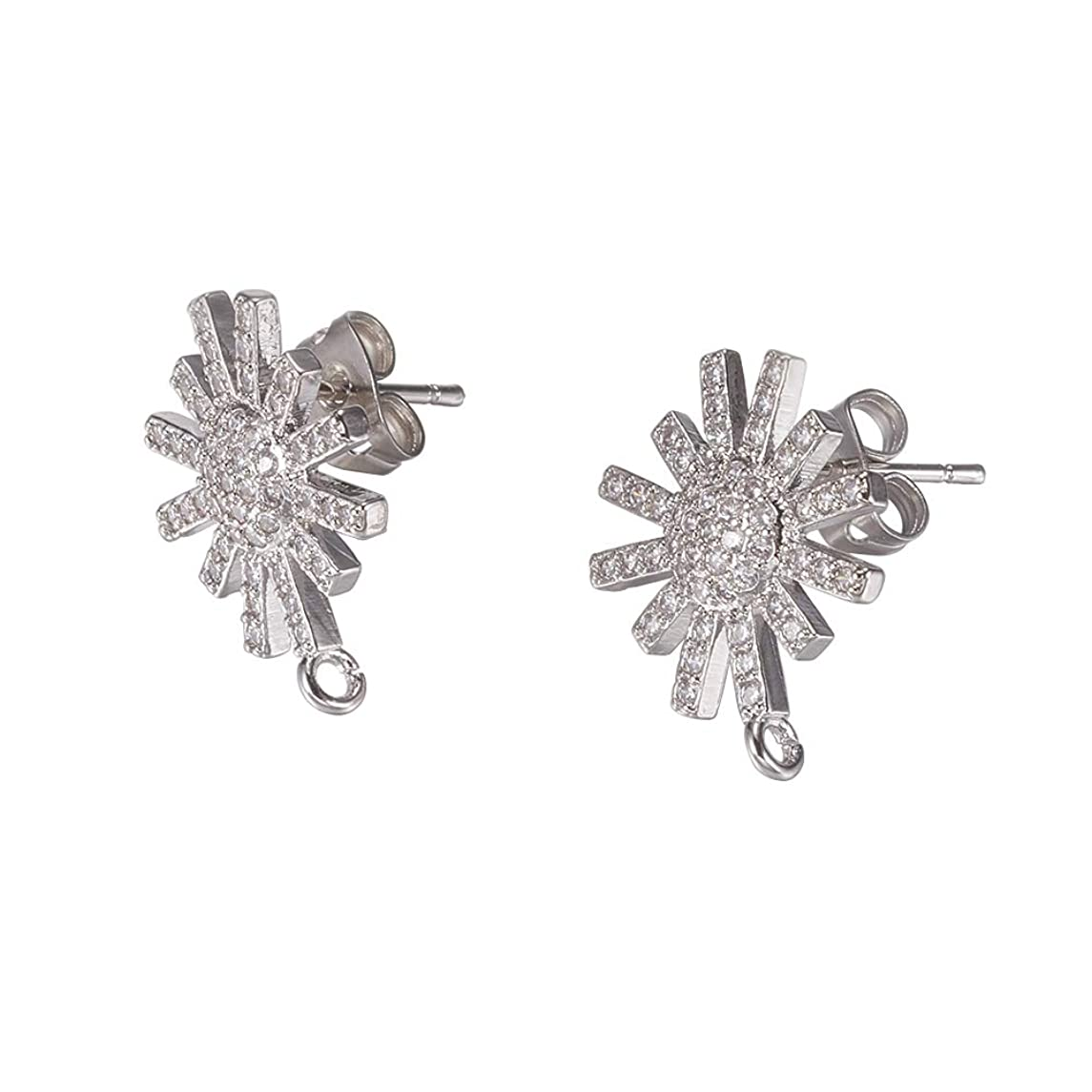 PH PandaHall 10 PCS(5 Pairs) Brass Cubic Zirconia Ear Stud, Flower Rhinestone Setting Earring Back Posts, Platinum