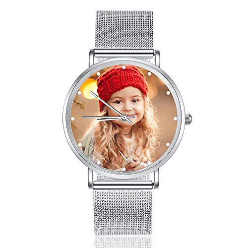 Jewelora Relojes para Hombres Relojes Mujer Relojes Personalizados con Foto Relojes de Pareja de Acero Inoxidable Sorpresa de Navidad para el Amor (Steel Belt, Women)