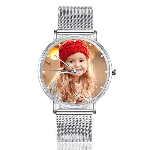 Albertband Reloj para Mujer Relojes con Foto Personalizados Relojes con Correa de Cuero Reloj de Pulsera para Hombres y Mujeres para el día del Padre Regalo para Madres (plata-36mm)