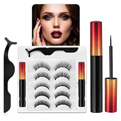 Magnetische Wimpern Eyeliner Set, 5 Paar Magnetischer Falsche Wimpern 3D Natürlich Mit Wasserdichtem Gelfreiem Magnetische Eyeliner und Wiederverwendbare 3D Magnetic Lashes