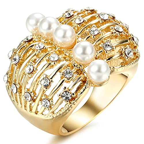 Ezzyso Anillo de Perlas de Costilla, joyería de Anillo de aleación de la aleación de la Femenina de la Femenina de Cristal Americana de la Moda (2 Piezas),7