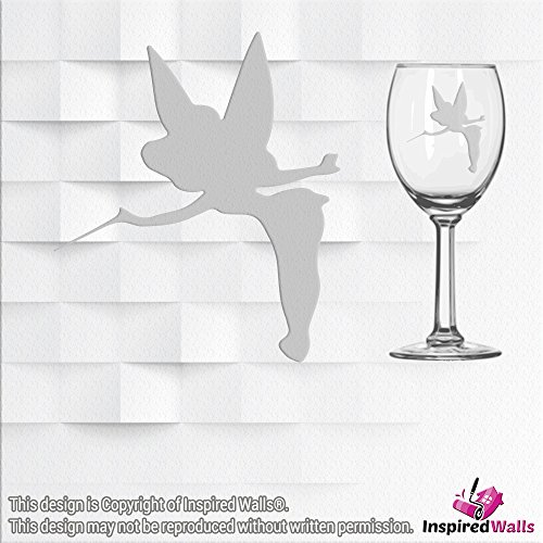 Tinker Bell Vinyl Sticker Decal Glitter Wine Glass Wall Mirrors Tasse Laptop CUP by Inspired Walls®, silber