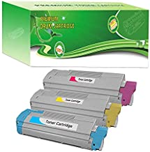 ABCink C610 44315301 44315302 44315303 Toner Compatible for Okidata C610cdn,C610dn,C610dtn,C610n Color Laser Printer Toner Cartridge,3 Pack(1 Cyan,1 Yellow,1 Magenta)