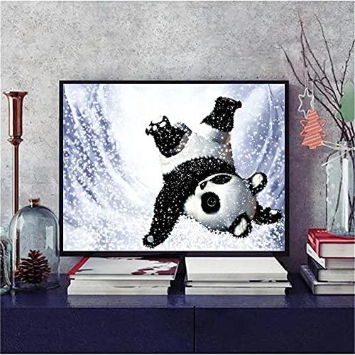 DIY 5D Diamond Painting Kit Completo,Panda animal Pintura Diamante para Adultos Niños,Cuadro de Diamante Rhinestone Bordado Punto de Cruz Artes,Decoración de La pared Del Hogar 80x100cm