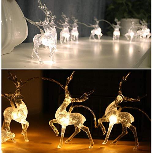 LONMN Cadena indicador Ciervos de Brillante cálida Ilumina Renos decoración Interior de la batería para Las...