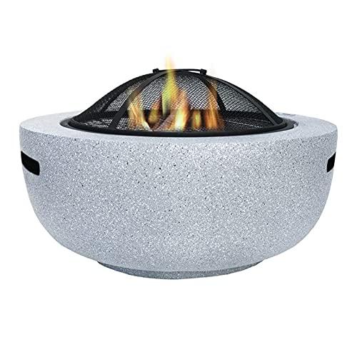 Brasero Exterior Pista de Fuego al Aire Libre, Estufa de calefacción de Patio de Villa, imitación de mármol Patio jardín brasero (Color : Gray)