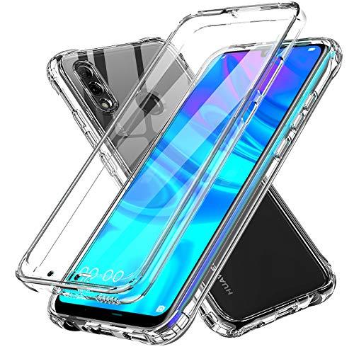 LeYi Funda para Huawei P Smart 2019 / Honor 10 Lite con Protector de Pantalla Integrado, 360 Carcasa Armor Silicona TPU Gel Bumper Hard PC Ultra-Fina Antigolpes Case para Movil P Smart 2019,Clear