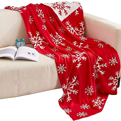 NTBAY 100% Cotton Cable Knit Throw Blanket Super Soft Warm with Snowflakes Pattern Design(51'x 67', Red and White)