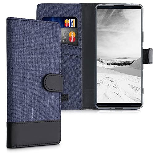 kwmobile Wallet Hülle kompatibel mit Sony Xperia 1 III - Hülle mit Ständer - Handyhülle Kartenfächer Dunkelblau Schwarz