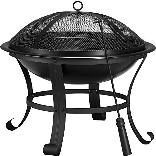 Yaheetech Outdoor Fire Pit Round Steel Fire Bowl with Mesh Screen Cover Fire Poker Log Grate for Patio BBQ Camping Bonfire