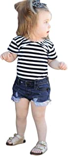 New 2019 Summer Toddler Girls Cute 2Pcs Letter Stripe Tops+Denim Shorts Outfits Clothes Set