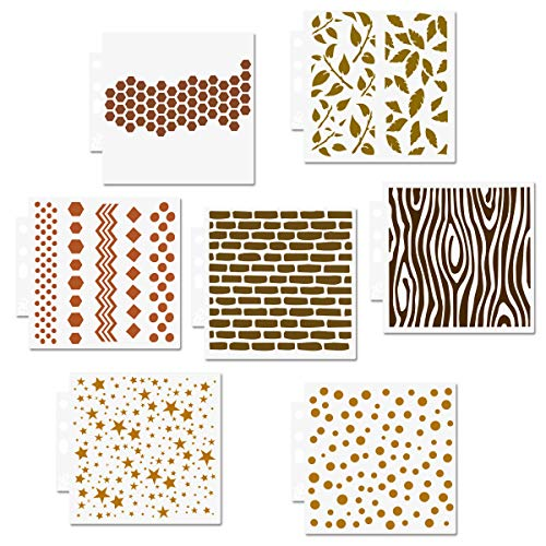 Brick Stars Honeycomb Cookie Stencils Set - 7 Packungen Mixed Media Wiederverwendbare Mylar-Vorlage zum Backen von Holzschildern Kissen Wall Scrapbook Card Making DIY Craft Stencil - 13x14cm