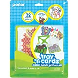 Perler Beads Crafts Tray 'n Cards Pattern Card and Pegboard Set, 20 pcs