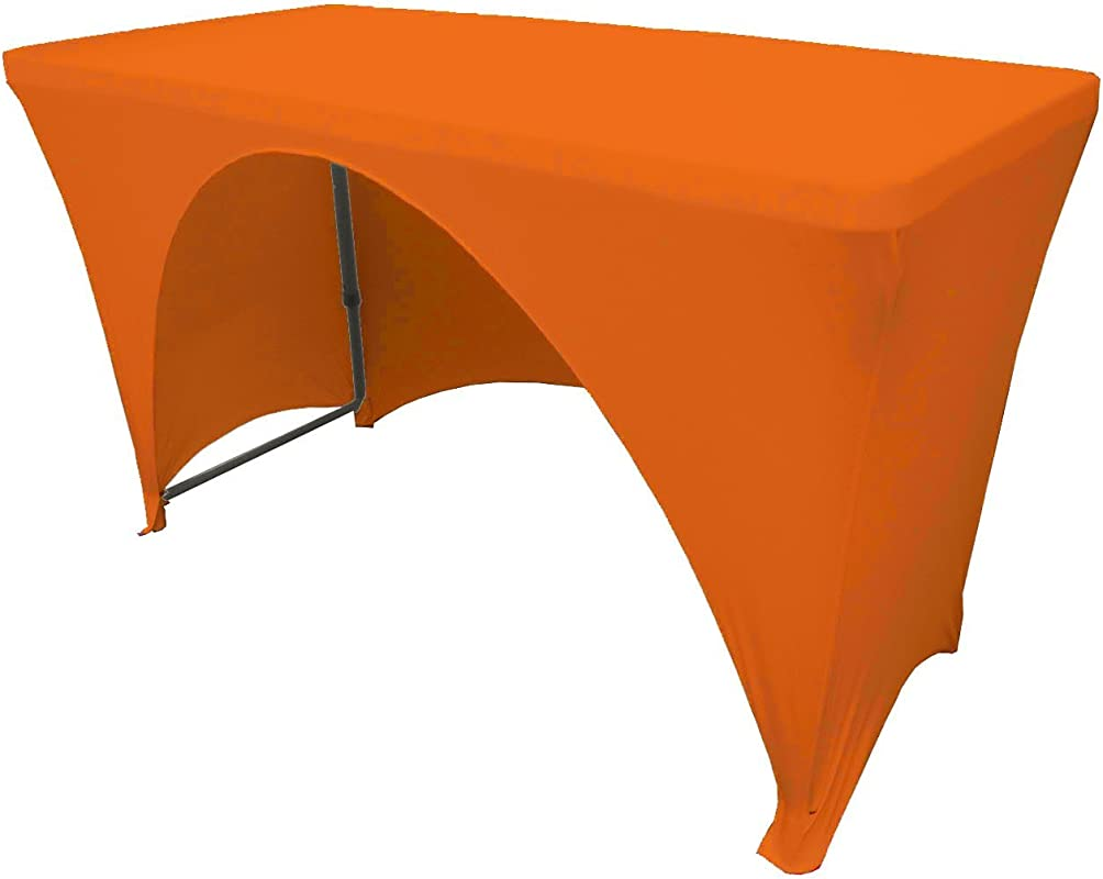 LA Linen Open Back Spandex Tablecloth Orange 48 X 24 X 30