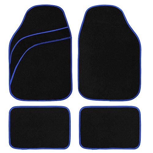 MUSEE Universal Car Floor Mat Carpet Fit for Car SUV Van & Truck All Weather Protection Universal Fit Carpet (Blue)