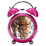 GIRLSIGHT 4' Twin Bell Alarm Clock with Fun Animal Dial, Backlight, Battery Operated Loud Alarm Clock 254.Horse(red)