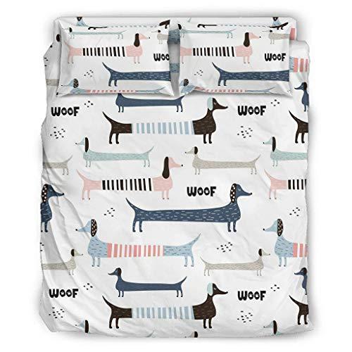 Viiry Juego de cama de 4 piezas, diseño divertido de perro salchicha de animales - Fundas de cama de 228 x 228 cm