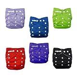Alva Baby - 6 pañales de tela lavables y ajustables con 12 inserciones azul set 6BMN Talla:All in one