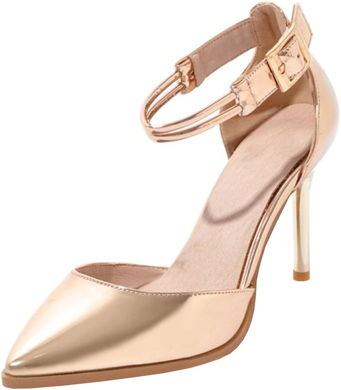 Agodor Women's High Heels Ankle Strap Pumps Stiletto Sandals Elegant Pointed Toe Summer shoes