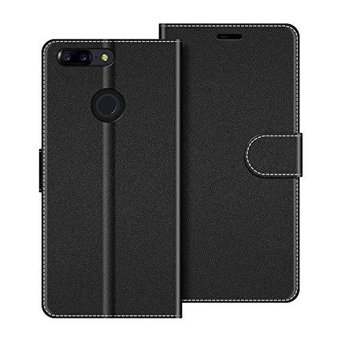 COODIO Handyhülle für OnePlus 5T Handy Hülle, OnePlus 5T Hülle Leder Handytasche für OnePlus 5T Klapphülle Tasche, Schwarz
