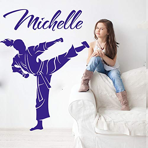 yaofale Benutzerdefinierter Name Kampfkunst Karate Taekwondo Wandtattoo Mädchen Zimmer Persönlichkeit Boxen Judo Sport Wandaufkleber Schlafzimmer Spielzimmer Vinyl