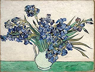 Wieco Art Irises by Van Gogh Famous Floral Oil Paintings Reproduction Modern Wrapped Giclee Canvas Prints Blue Flowers Pictures on Canvas Wall Art for Living Room Bedroom Home Office Decorations