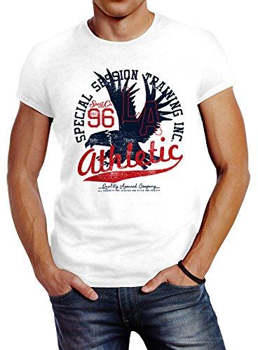 Neverless Herren T-Shirt Athletic Adler Eagle Sport College Slim Fit weiß L
