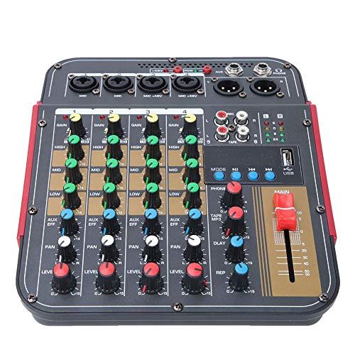 Tnfeeon Professionele stereo-mixer voor kaarten, sound-mixer, draagbaar, 4 kanalen
