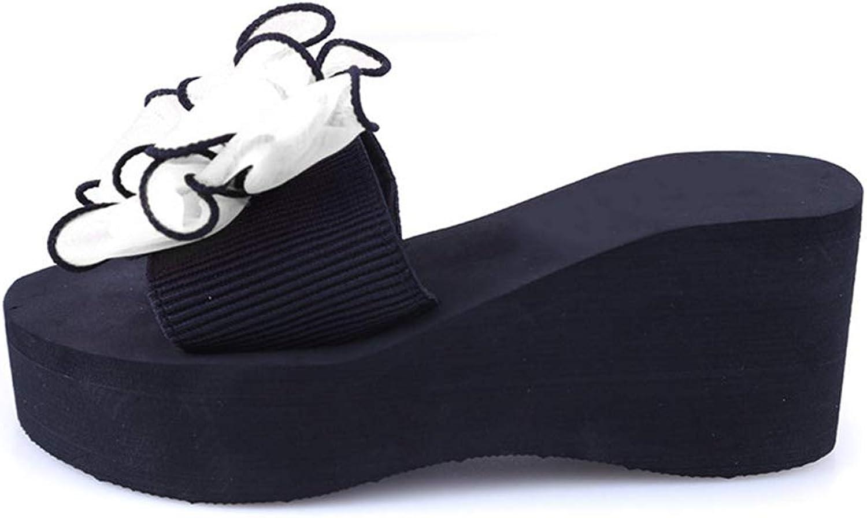 Hoxekle Summer Woman Platform Bath Slippers Wedge Beach Flip Flops High Heel Slipper for Women Black EVA shoes