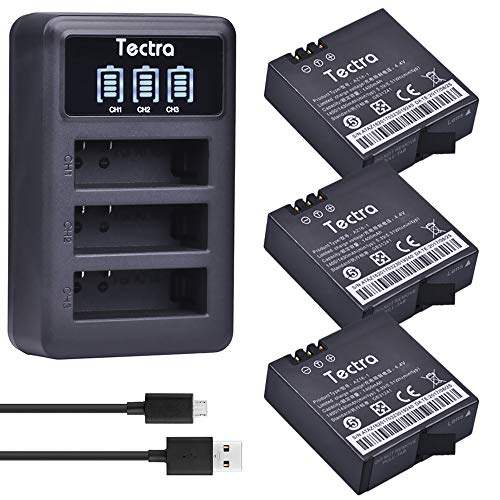 Tectra 3Pcs Xiaomi YI 2 4K AZ16-1 Replacement Battery + LED Display USB 3-Slots Charger for Xiaomi YI AZ16-1, AZ16-2 and Xiaomi Yi 4K, Yi 4K+, Yi Lite, YI 360 VR Action Camera