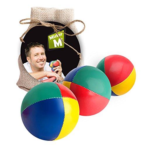 Mister M ✓ Das Ultimative Jonglierball Set ✓ 3 Jonglierbälle mit Naturfüllung ✓ Online Lern Video ✓ Jute Geschenkbeutel