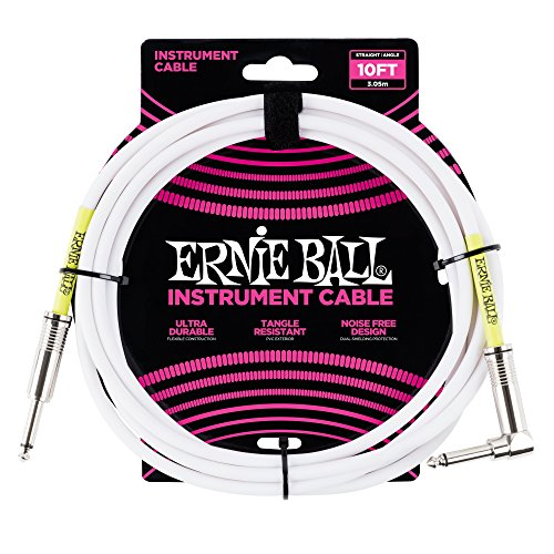 Ernie Ball 10 \'Straight/Angle Instrument Cable - Blanco