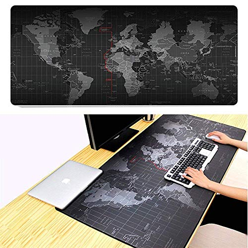 Jestar Gaming Mouse Pad Mat Large World Map Extended XXL 800mmX300mm Computer Game Mousepad Stitched Edges Non-Slip Smooth Operating for Laptop Desktop Computer Keboard and Mouse