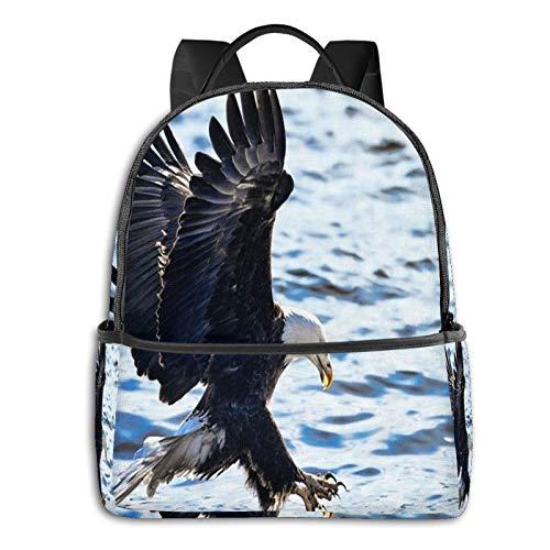 School Backpack for Men Women Teenager Daypack Fit 15.6 Inch Laptop Satchels Rucksack, Bald Eagle Wing 15 Casual Travel Backpack