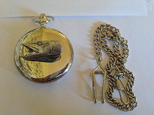 F21Pike 's Kopf poliert Silber Fall Herren Geschenk Quarz Taschenuhr hergestellt in Sheffield