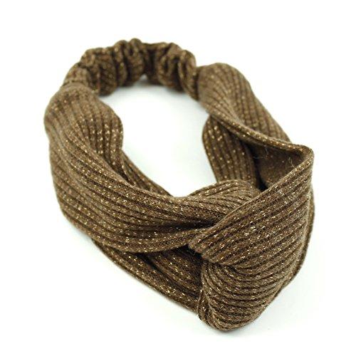 rougecaramel - Accessoires cheveux - Headband/Bandeau serre tête entrecroisé en tissu - marron