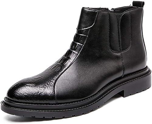 XHD-Chaussures Bottes à la Mode pour Hommes, Couture Simple, Couture personnalisée pour Une Fermeture à glissière Pratique (Couleur   Noir, Taille   39 EU)