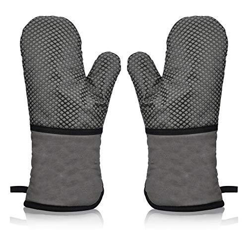 AYADA Ofenhandschuh Hitzebeständig Topfhandschuhe Topflappen Handschuh,BBQ Backofen Handschuhe,Grillhandschuhe Backhandschuhe Kochhandschuhe Anti-Rutsch Silikon Beschichtet Lang Oven Gloves (Grau)