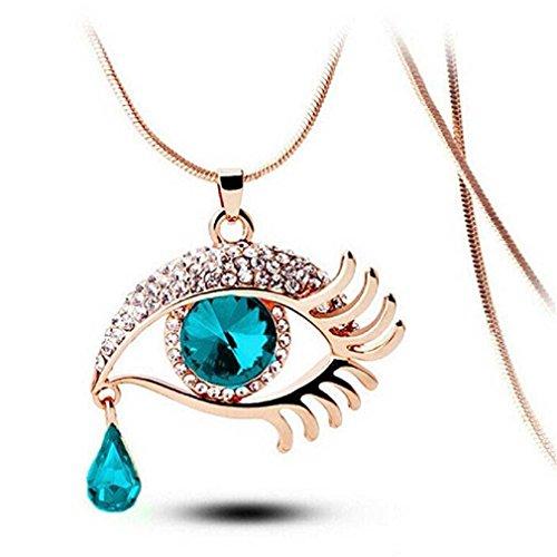 Liquidazione offerte, Fittingran Donne Fashion Magic Eye Crystal Tear Drop Ciglia Collana Lunga Catena Maglione Romantico Regalo Gioielli (B)