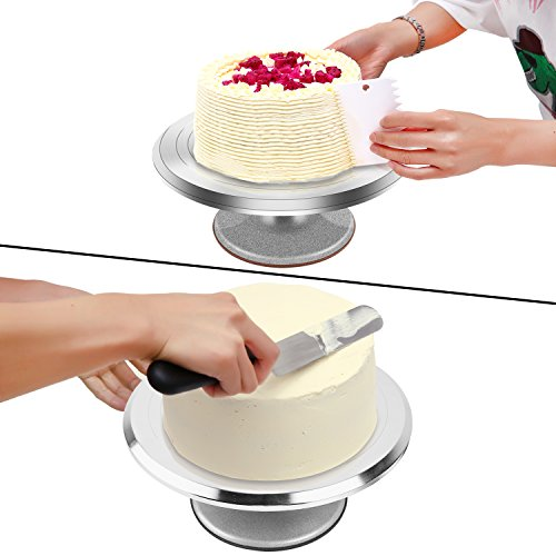 Cake Stand, Ohuhu Aluminium Revolving Cake Turntable 12'' Rotating Cake Decorating Stand with Angled Icing Spatula and Comb Icing Smoother, Baking Cake Decorating Supplies Great Mother's Day Gift Idea