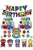 Kit de Decoracion Cumpleaños Superheroes Globos de Superhéroe Feliz Cumpleaños del Pancarta Superheroes Adornos de Pastel Superhéroe Marvel Cumpleaños Decoracion