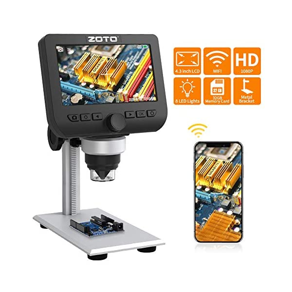 WiFi LCD Microscope, ZOTO 4.3inch 1080P Full HD Wireless Digital Microscope 1000X Magnification 32GB for Kids, Lab, Edu, IOS Android Smartphones Tablet PC