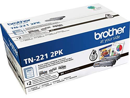 Brother TN221 - Cartuchos de tóner (2 unidades, tinta negra, rendimiento estándar)