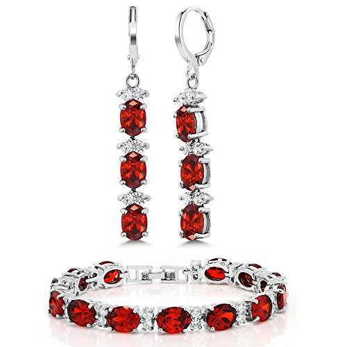 Gem Stone King 7 Inch Red and White CZ Bracelet Set With Matching 2 Inch Oval shape Dangle Earrings