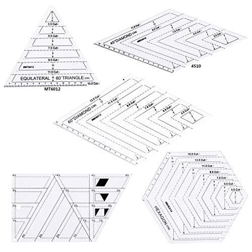 Juego de 5 piezas para coser, patchwork, manualidades, triángulo, manualidades, herramientas para casa