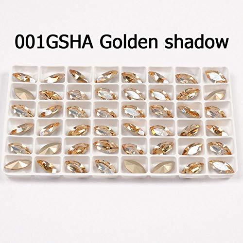 Glitter Crystal Naai Op Strass Met Klauw Navette DIY Kleurrijke Strass Jurk Fancy Stone Glas Strass Steentjes Voor Sieraden Kleding, Gouden Schaduw, 9.5x35mm 4 stks