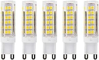 LED Bulbs AC220 LED Bulbs G9 75Led Smd2835 7w 400-450Lm White Warm/Cool White Small Ceramic Corn Lamp White 5Pcs (Color : ...