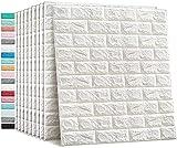 Lezoon 12 Carta da Parati adesiva Mattoni 3D Muro di Mattoni Moderna Pannello Parete Decorativo Impermeabile Pannelli per Cucina, Bagno, Salone, Ufficio, TV Sfondo(77 cm x 70 cm x 3,5 mm) Bianco