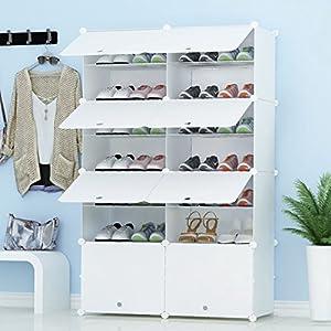 PREMAG Organizador de Almacenamiento de Calzado portátil Tower, Blanco, Estante de gabinete Modular para Ahorrar Espacio, estantes de Zapatero para Zapatos, Botas, Zapatillas 2 * 7